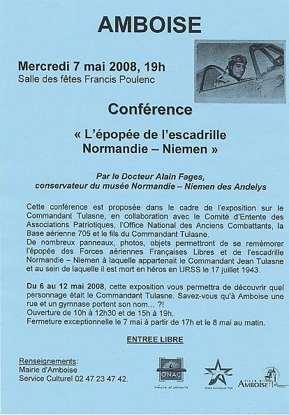 du 6 au 12 mai 2008 à Amboise expo Jean Tulasne ConferenceNN